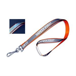 "Pre-Printed ""Safety First"" Reflective Lanyard"