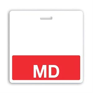 "Horizontal Red ""MD"" Badge Buddy"