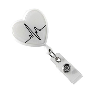 White EKG Themed Heart Shaped Badge Reel